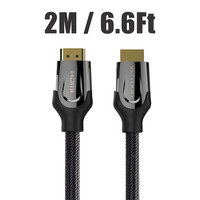 Black 2M 6 6Ft Gold Plated Nylon Braided Male To Male High Speed Round HDMI Cable