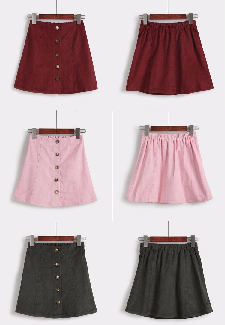 Saia 2016 Autumn vintage fashion corduroy high waist sexy mini skirt winter short a line skirts black gray casual skirts A802 h