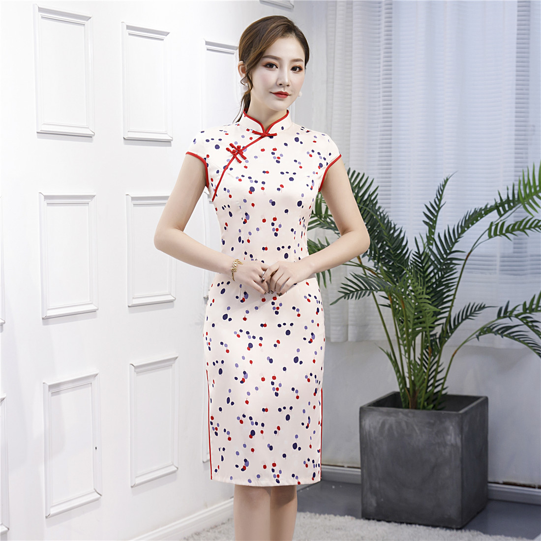 Beige Print Dot Big Size 3XL Women Cheongsam Satin Mandarin Collar Vintage Button <font><b>Chinese</b></font> <font><b>Dress</b></font> <font><b>Sexy</b></font> Elegant Novelty Vestidos image