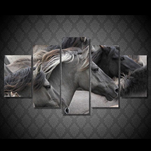 5 Pcs/Set Framed HD Printed Wild Horse Wall Art Picture Canvas Print ...