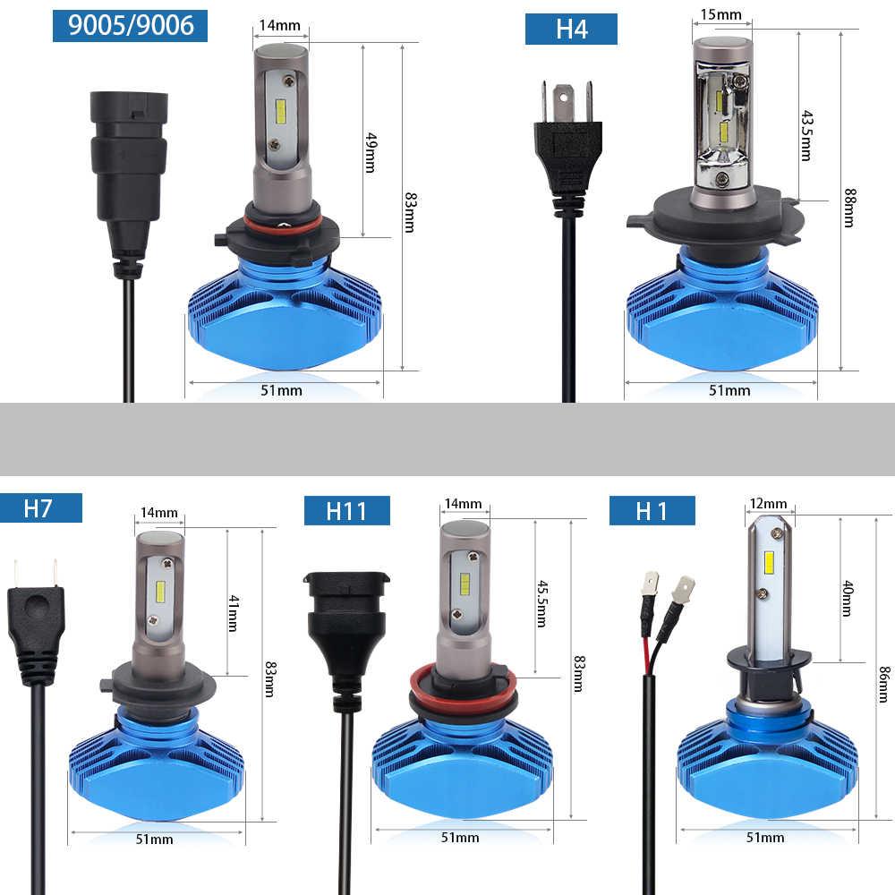 BraveWay 2PCS Super Brgiht CSP Chip H7 LED H4 Car Light H8 H11 Led Bulb HB3 HB4 9005 9006 Headlights for Automobiles Cars 12V
