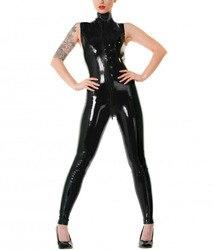 Latex Zwarte Mouwloze Catsuit through zip voor eenvoudige toegang Latex Bodysuit Sexy Kostuums Voor Meisjes