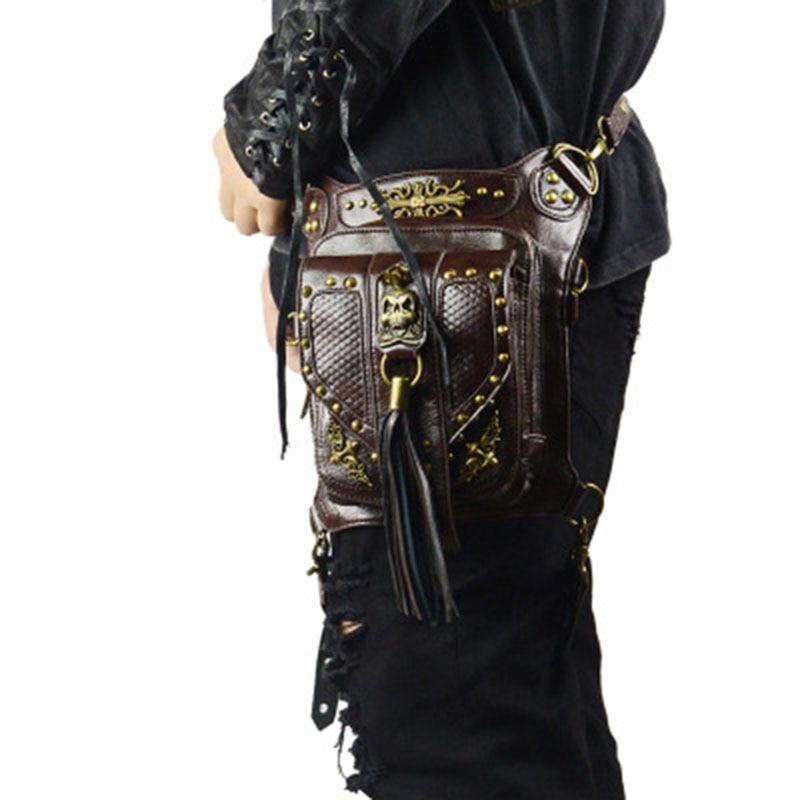 Rétro Punk Style Unisexe Femmes Hommes Sac À Bandoulière Rock Gothique Crâne Punk Taille Sac Noir En Cuir Jambe Sac En Métal Sac Taille Packs