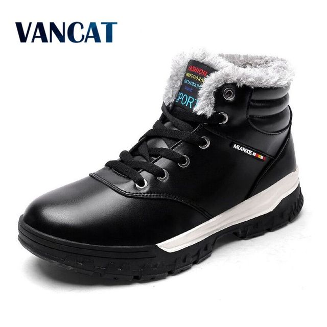 ba19dbef923b VANCAT Winter Männer Mode Leder Stiefel Casual Männer Leder Mokassin Marke Winter  Männer Schuhe Männer Stiefeletten