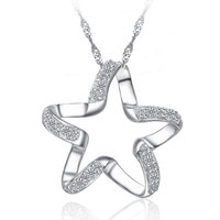 2016 New Arrival 925 Sterling Silver Chic Pendant Necklace Girls Wedding Accessories Women Funny Lucky Star