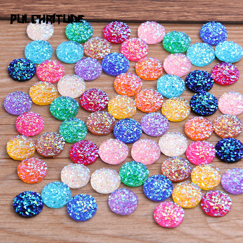 PULCHRITUDE New Fashion 40pcs 12mm Mix Colors Natural Ore Style Flat Back Resin Cabochons