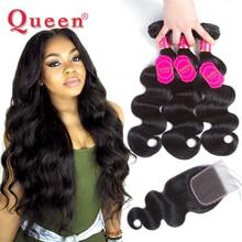 Queen Hair Products Brazilian Body Wave Hair Weave Bundles With Closure Brazilian Virgin Hair Human Hair Bundles With Closure все цены