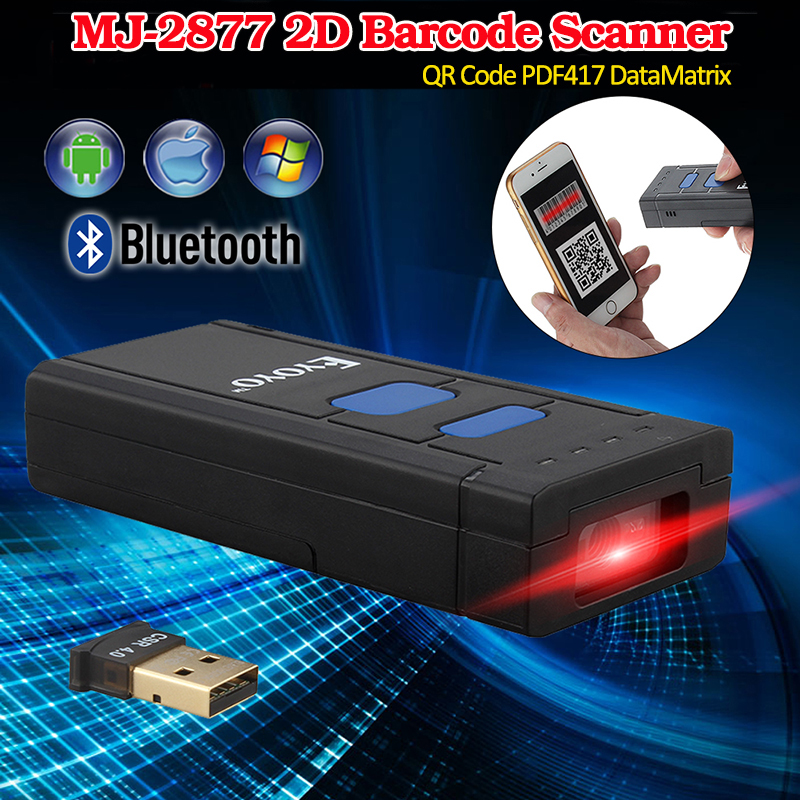 MJ-2877 Mini Portable Bluetooth sans fil 2D QR Scanner de codes à barres Scanner PDF417 DataMatrix 2D code à barres Android Scanner de poche QR
