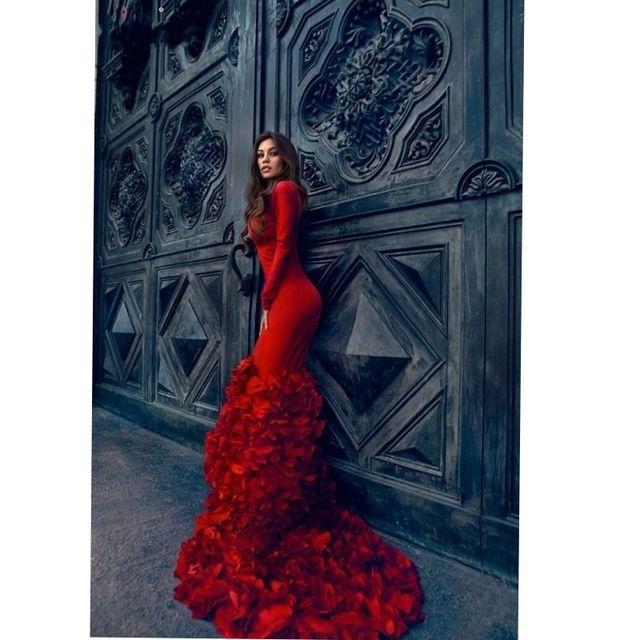 Vestidos de baile sereia low cut v neck manga comprida longo vermelho evening party dress com saia de babados