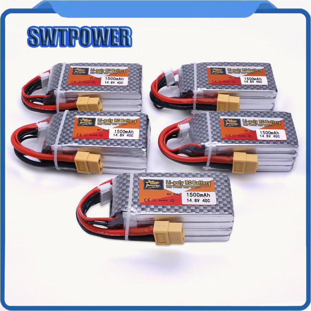 5pcs ZOP Power 14.8V 1500mAh 4S 40C Lipo Battery XT60 Plug Rechargeable Battery high quality rechargeable lipo battery zop power 14 8v 1800mah 75c 4s lipo battery xt60 plug
