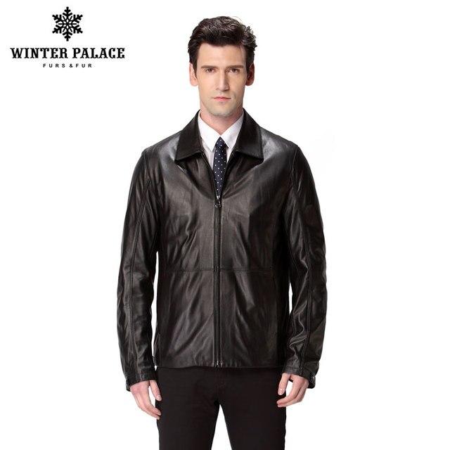 US $172.5 50% di SCONTO Primavera calda giacca in pelle da uomo, In Vera Pelle, Collo Alla Coreana, Pelle di Pecora, cappotto Uomo, giacca da uomo,