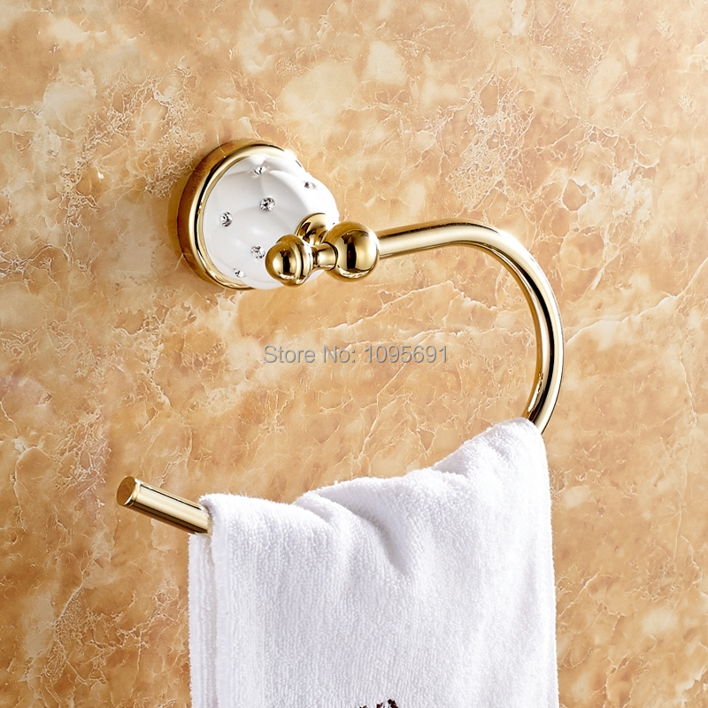 ФОТО Brass & Zinc alloy Titanium  Golden Finished Towel Ring,Bathroom Accessories Products Gold Towel Holder,Towel Rack,Towel Bar