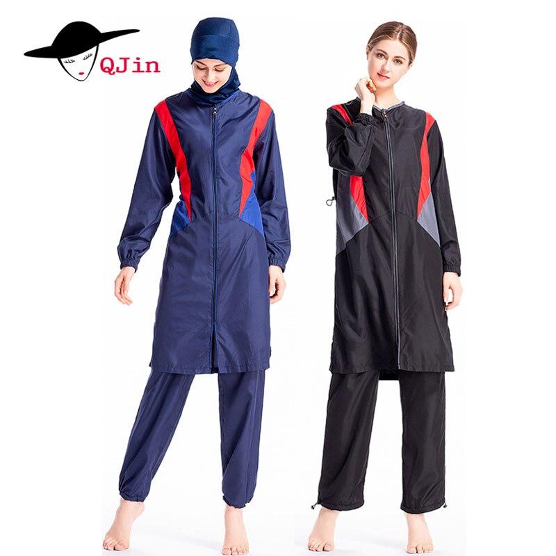 Arabie Saoudite Plus Taille Musulman Filles Maillot de bain de Sport Vêtements Islamique 3 pièces Hijab Séparés Femmes Pleine Longue Modeste Maillots De Bain