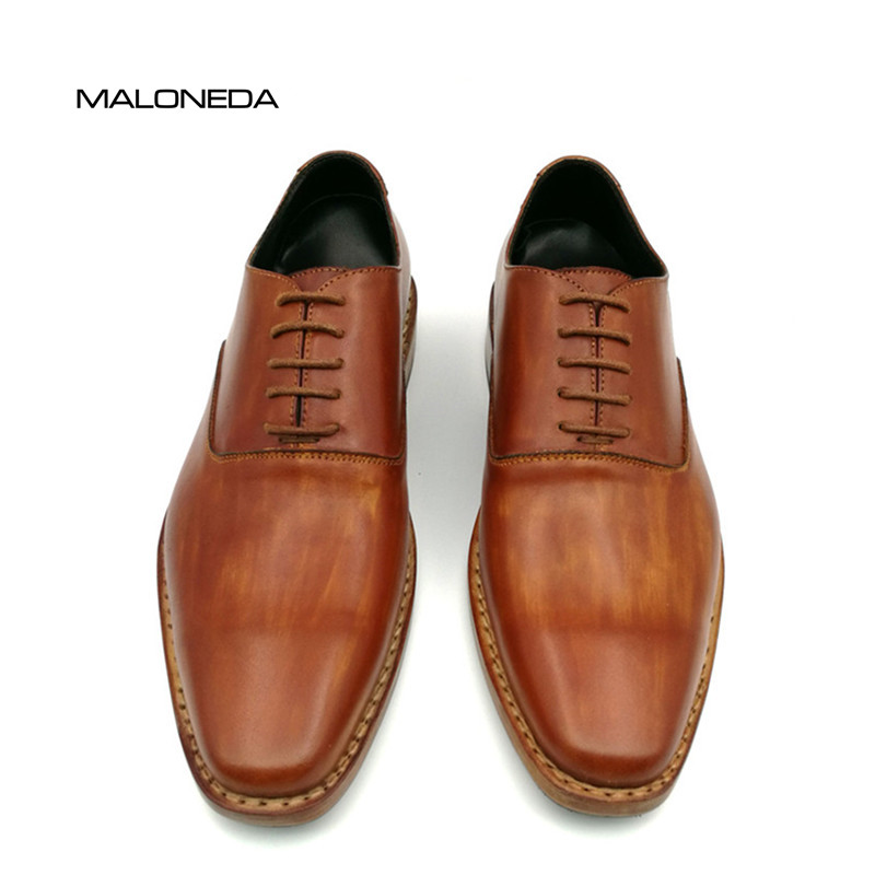 MALONEDA Custom Handmade Goodyear Welted Shoes 100% Genuine Leather Lace-up Dress Shoes Mens Oxford Wedding Party Shoe bespoke mens goodyear welted shoes handmade custom pointed brock head layer cowhide free shipping red brown dress shoe