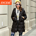 Nova Europa Mulheres Jaqueta Para Baixo Casaco de Inverno 2016 Com Capuz Jaquetas senhoras Sete Sleeve Zipper Roupas Longo Feminino Casacos de Venda Quente Y169