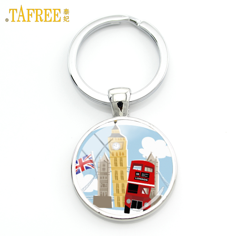 TAFREE novelty old London montage red double decker bus keychain peace and love men wome ...
