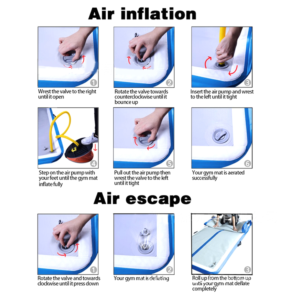 Matelas gonflable de gymnastique AirTrack culbutant la pompe à Air électrique de Trampoline de voie d'air pour l'usage à la maison/formation/Cheerleading/plage - 6