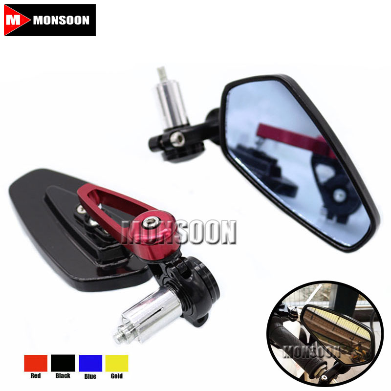 For DUCATI Monster 900 750 800 620 Universal Motorcycle 7/8 22mm Rearview Mirror Handle Bar End Blue Side Mirror Red universal motorcycle scooters racer rearview side view handle bar end mirror for yamaha yzf1000 r1 yzf600 r6 fz1 fz6 fz400 fz8