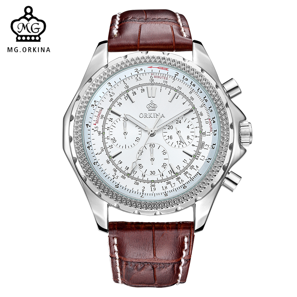 MG. ORKINA Big Dial Mens Quartz Watch Japan Movement JS20 Chronograph Stainless Steel Back 3atm Waterproof Relogio Masculino orkina brand clock 2016 new luxury chronograph rose gold case black dial japan movement mens wrist watch cool horloges