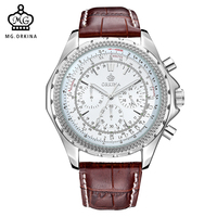 MG. ORKINA Big Dial Mens Quartz Watch Japan Movement JS20 Chronograph Stainless Steel Back 3atm Waterproof Relogio Masculino