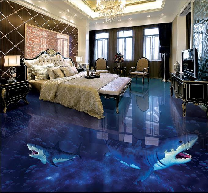 wallpaper-roll-size pvc floor wall papers home decor Shark fish vinyl flooring fireproof waterproof living room 3d wallpaper цена и фото