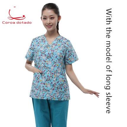 Unisex printed love surgical suit hand-washing suit animal hospital uniform