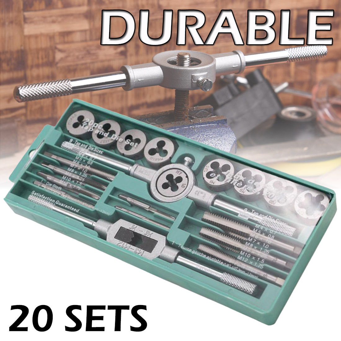20pcs Alloy Steel Hand Screw Tap Die Set 1/16 - 1/2 Inch NC Screw Thread Plugs Taps Wrench Cutting Adjusting Tools