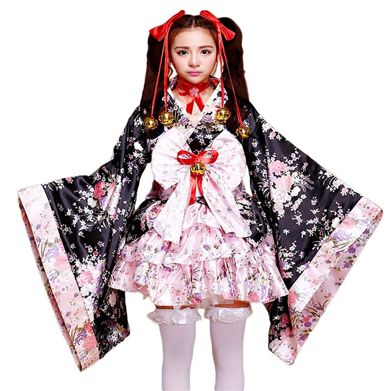 Ainiel Hot Sale Japanese Anime Cosplay Lolita Costume Halloween Fancy Dress Japanese Kimono Tops Skirt  Belt with Bowknot