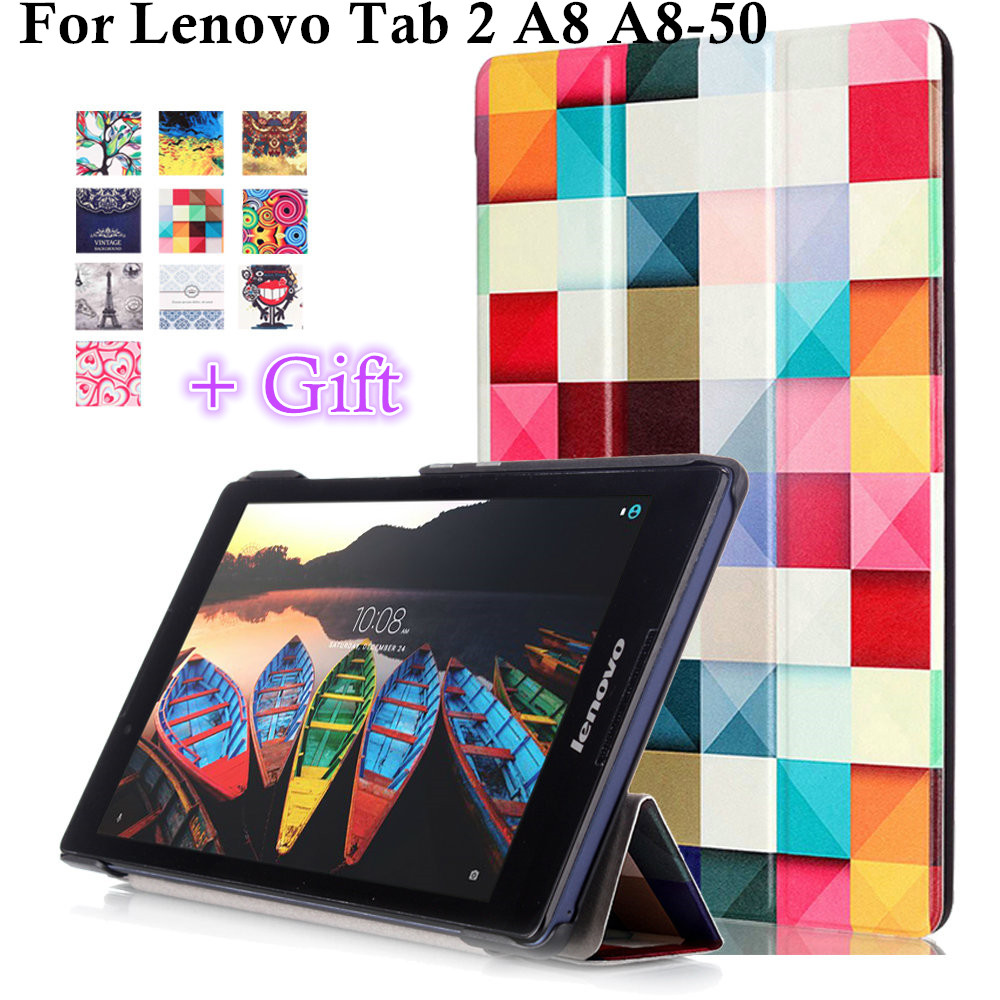 Magnet Smart cover For Lenovo Tab 2 A8 A8-50 Tab2 A8-50F A8-50LC 8 tablet case PU Leather Case Flip Cover for tab3 TB3-850M 2017 new for lenovo tab2 a8 pu leather stand protective skin case for lenovo 8 inch tab 2 a8 50 a8 50f tablets cover film pen