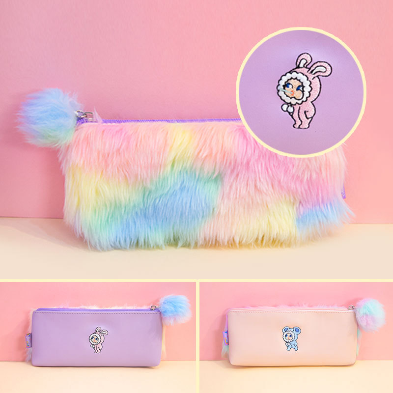 Korean Kawaii Penal Cute Plush School Pencil Case Rainbow Pencilcase for Girls Large Big Pen Bag Stationery Pouch Box Supplies стоимость