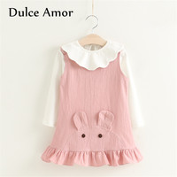 Dulce Amor Girls Dress Set Baby Girl Clothes Autumn Cotton Long Sleeve White Pullover Shirt Mouse