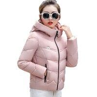 2018 plus la taille 3XL à capuche casacos de inverno feminino solide noir rouge coton rembourré femmes d'hiver veste femme manteau parka