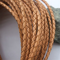 1 Yard 4mm Natural Color Braided Real Genuine Leather Cord For necklace bracelet