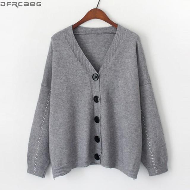 0879de9141 New 2018 Winter Tops Knitted Female Cardigans Streetwear V Neck Oversized  Sweater Women Single Breasted Coat fashion Pull Femme
