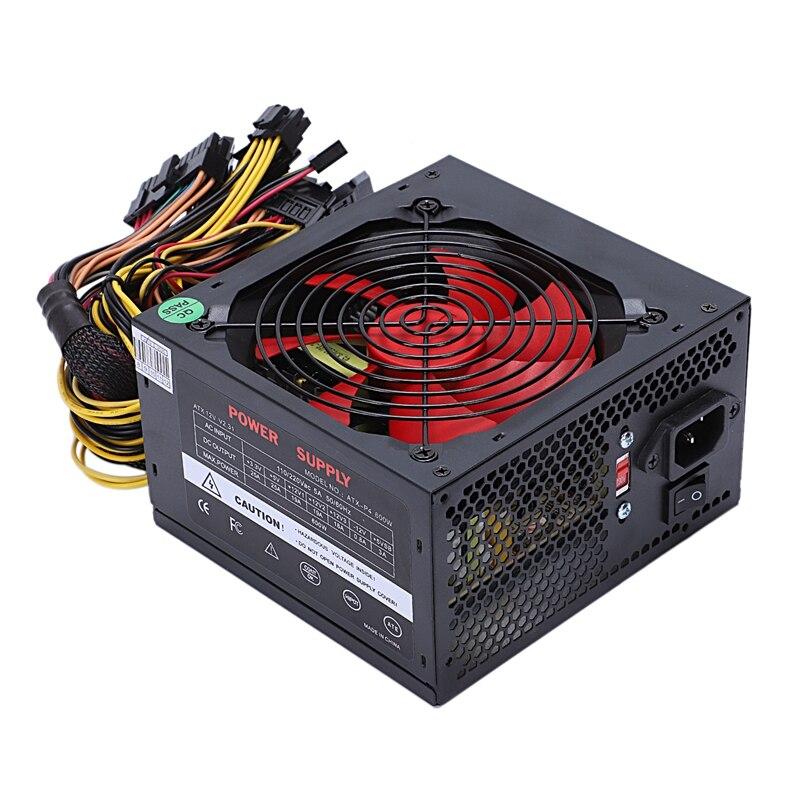 170-260 V Max 600 W alimentation Psu Pfc rouge 12 Cm ventilateur silencieux 24Pin 12 V Pc ordinateur Sata Gaming Pc alimentation pour Intel Amd Com