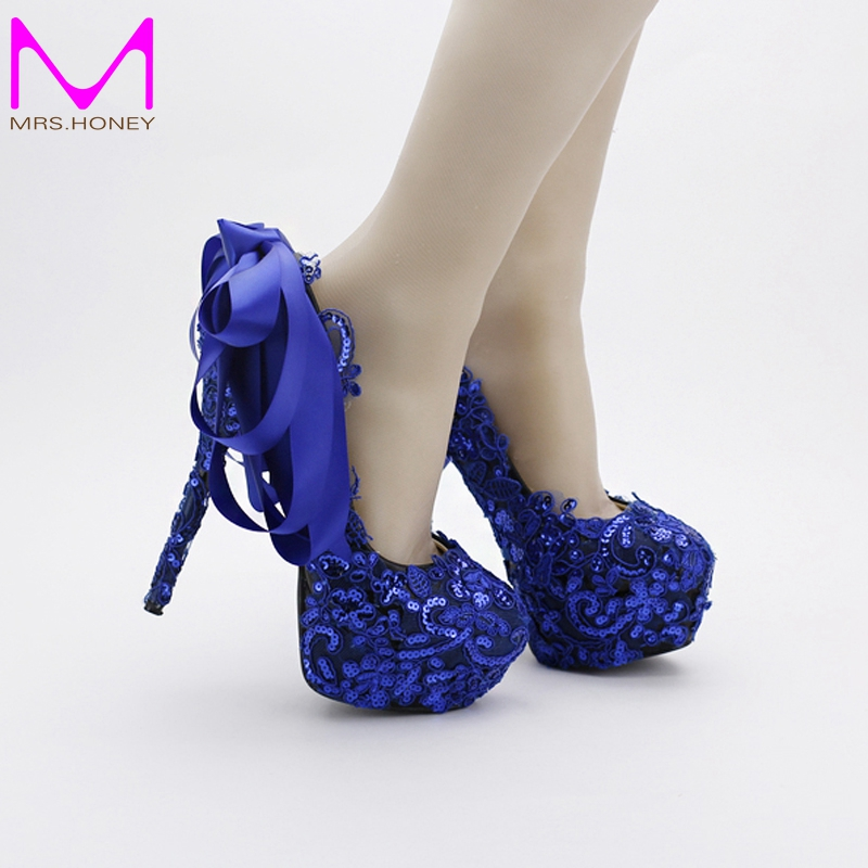 Blue Color Lace Wedding Shoes Sequined Glitter Nightclub Pumps Beautiful Satin Bow Women Prom Shoes Party Blue Dress Shoes