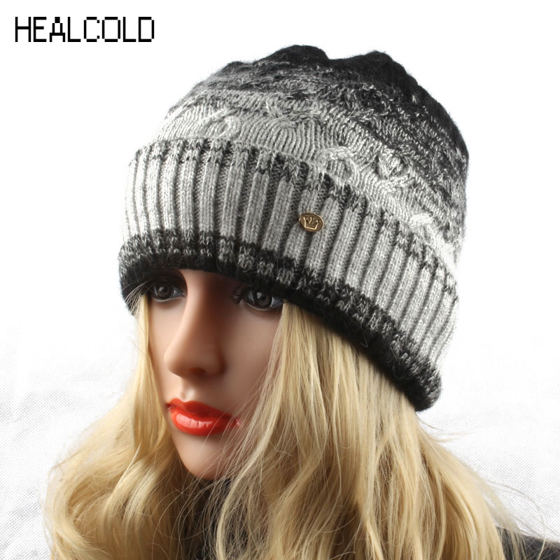 Winter Hats For Women Knitted Wool Beanie Hat Ladies Outdoor Cashmere Warm Skullies Caps 2017 wuhaobo the new arrival of the cashmere knitting wool ladies hat winter warm fashion cap silver flower diamond women caps