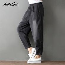 AiobeSol Autumn Winter Women Jeans Cotton Denim Cross-pants Elastic Waist Loose