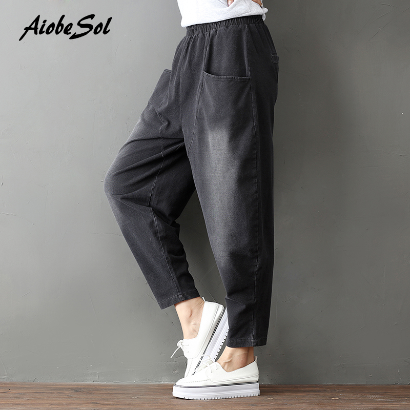 2017 Autumn Winter New Women   Jeans   Cotton Denim Cross-pants Elastic Waist Boyfriend Loose Wide Leg Pants Femme Trousers