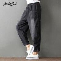 2017 Autumn Winter New Women Jeans Cotton Denim Cross pants Elastic Waist Boyfriend Loose Wide Leg Pants Femme Trousers