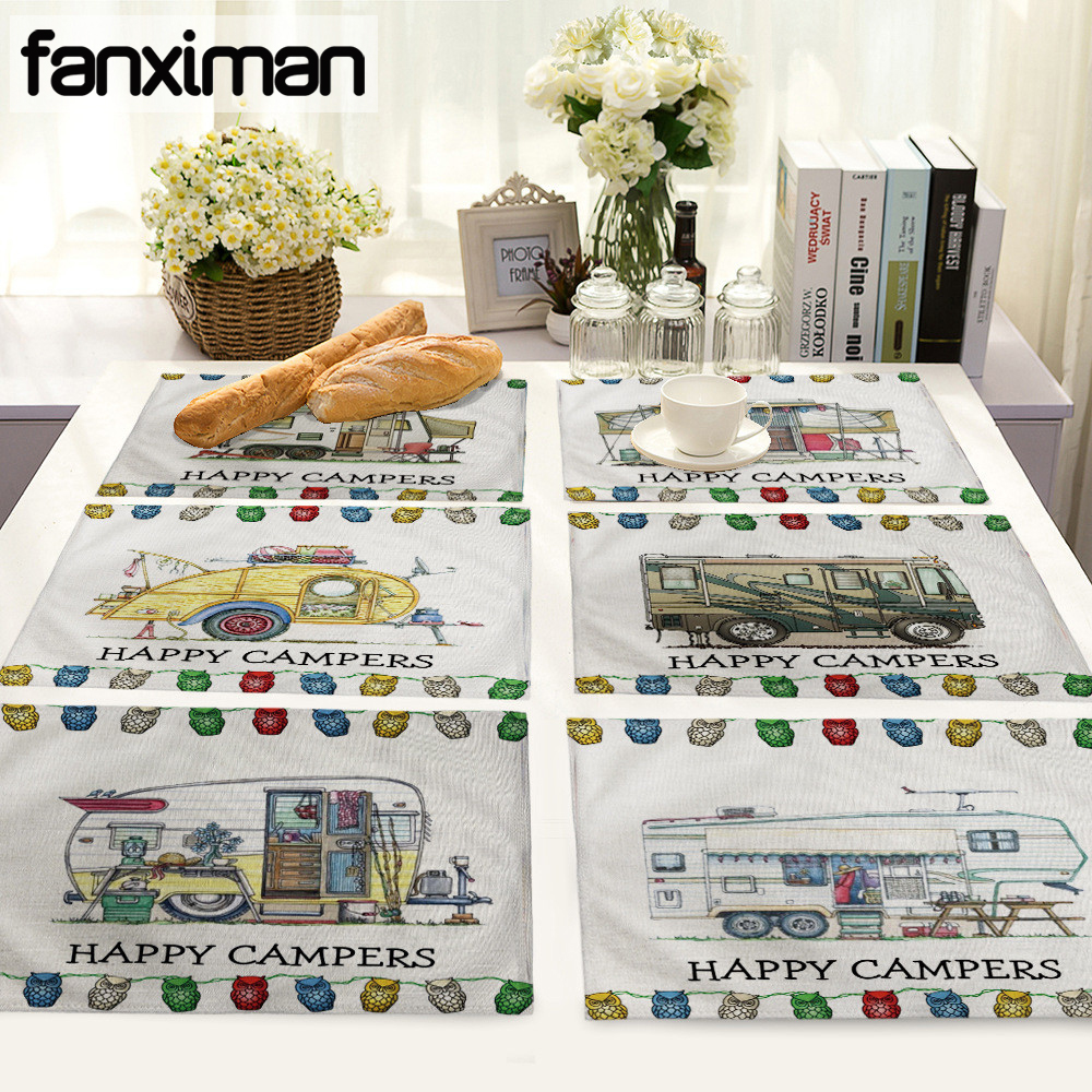 Linen Table Mat Dining Vintage British Cartoon Vehicle Print Placemat Kitchen Table Mats Dishware Coasters Dinne Cup Wine Mat