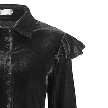 قميص قطيفة مخملي بأكمام طويلة مزين بكشكشة