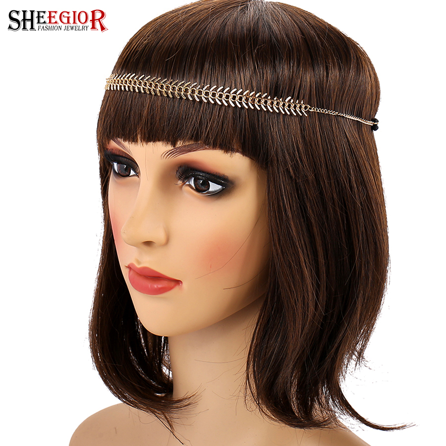 SHEEGIOR Lovely Wedding Bride Head Chains Hair Jewelry for Women Gold Wheat Shape Hair Accessories Elastic-Band Hair bands Gifts