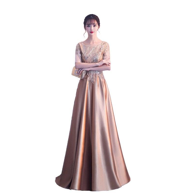 Mrs Win 2019 Half Sleeve Evening Dress A-line Robe De Soiree Gold Evening Dresses Elegant Zipper Evening Gown