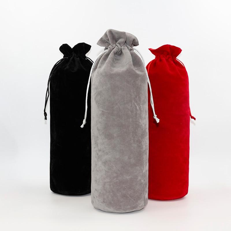 2pcs/lot 10*34cm Custom Logo Printed High Quality Cosmetic Velvet Pouch Drawstring Satin Gift Bags Wine Packaging Bags