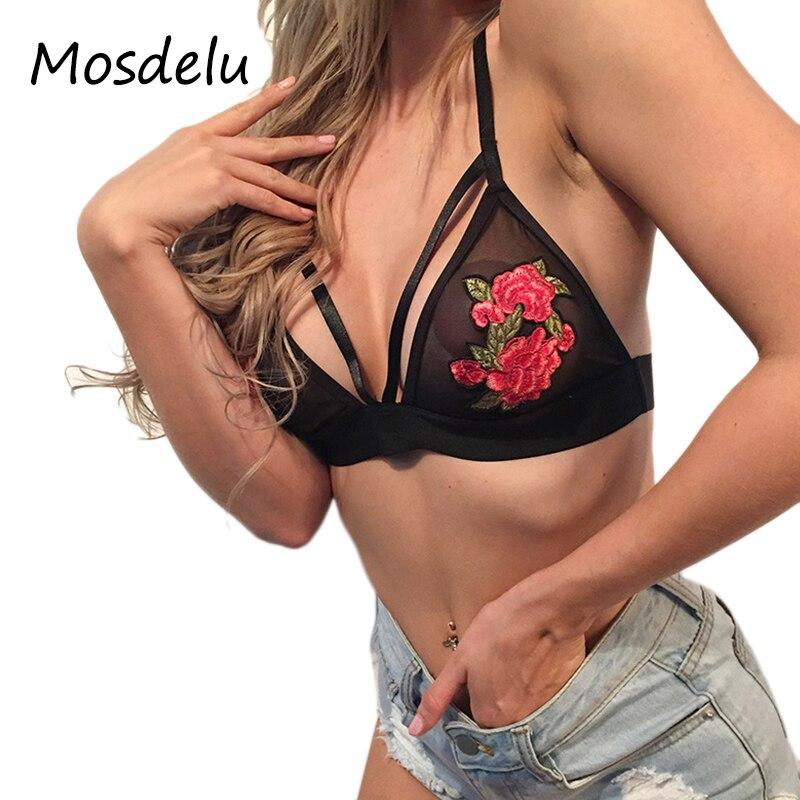 1bb113be97997 Mosdelu Mesh Lace Bralette Crop Top Lace Bra Tops Sexy Floral Sheer  Bralette Push Up Bras For Women Bralette encaje Lingerie -in Bras from  Underwear ...