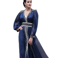 Robe De Soiree изящный, темно синий с длинным рукавом Кафтан для выпускного Дубайский мусульманский, Арабский Вечерние пышные шифоновые платья дл