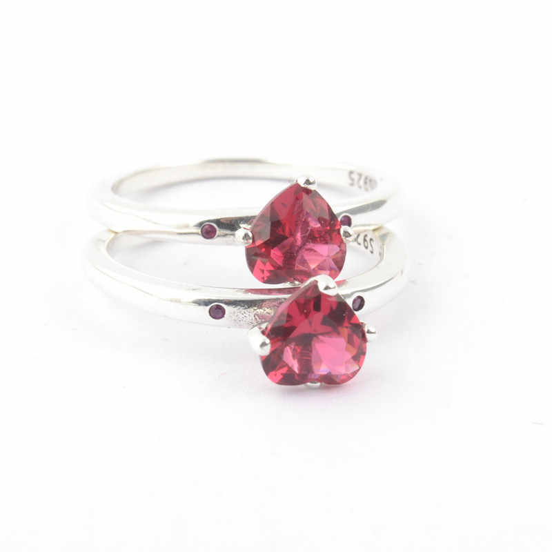 3dfa78a96 ... 925 Sterling Silver Pandora Ring Red Heart Shaped Crystal You & Me Ring  For Women Gift