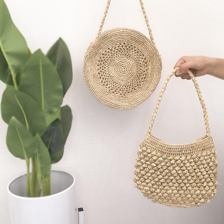 Fashionable Summer Handmade Lafite Grass Bag Beach Bag Hand-woven Shoulder Crossbody Messenger Bag High Quality Women Bag