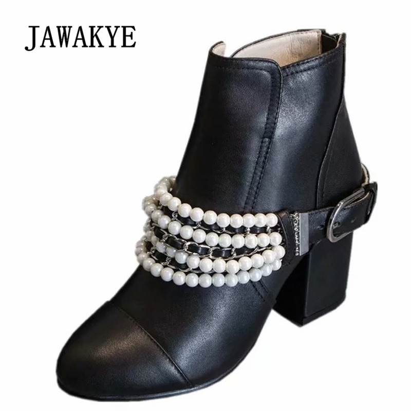 2018 Chic Pearl Chain Ankle Boots Women Round Toe Black Real Leather High Heel Boots Woman Fashion Martin Boots цена